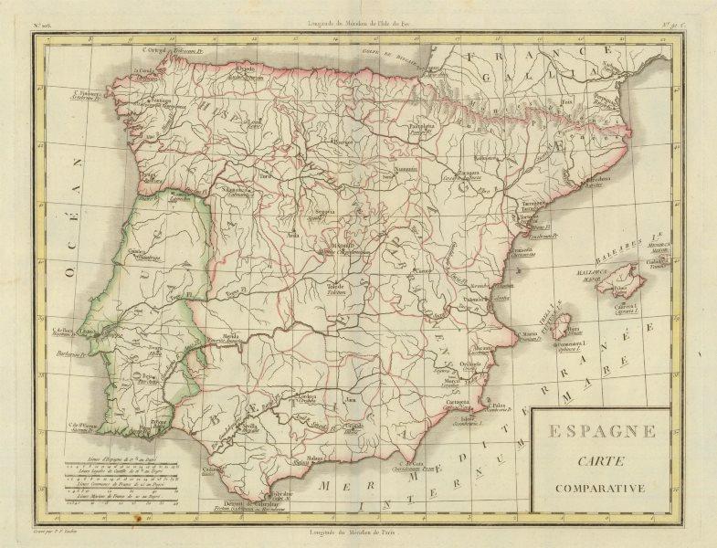 Associate Product 'Espagne Carte Comparative'. Mentelle/Chanlaire. Modern & Roman Spain c1798 map