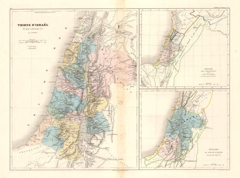 Associate Product Tribus D'Israel/Royaume des Israelites &c. DUFOUR. 12 Tribes of Israel c1840 map