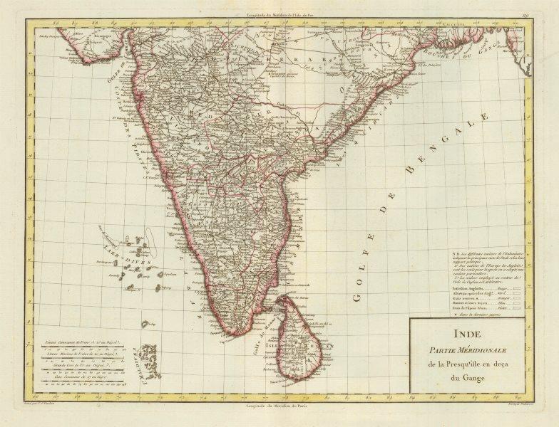 Associate Product 'Inde. Partie Méridionale…en deça du Gange'. Mentelle/Chanlaire. India c1795 map