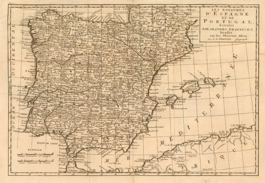 Associate Product 'Les Royaumes d'Espagne et de Portugal…' by Jean Janvier. Spain Iberia c1762 map