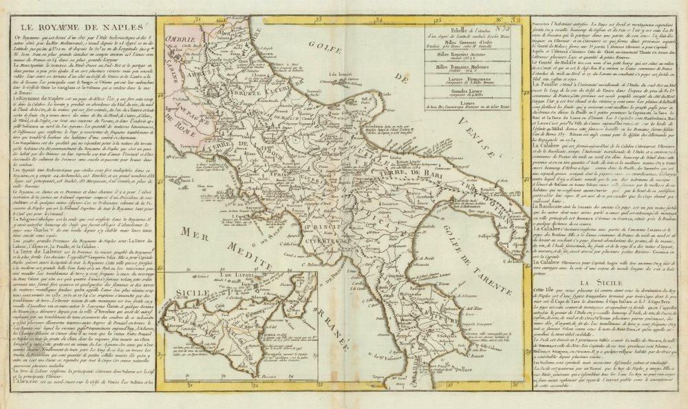 Associate Product 'Le Royaume de Naples' by J-B.L. Clouet. Kingdom of Naples c1787 old map