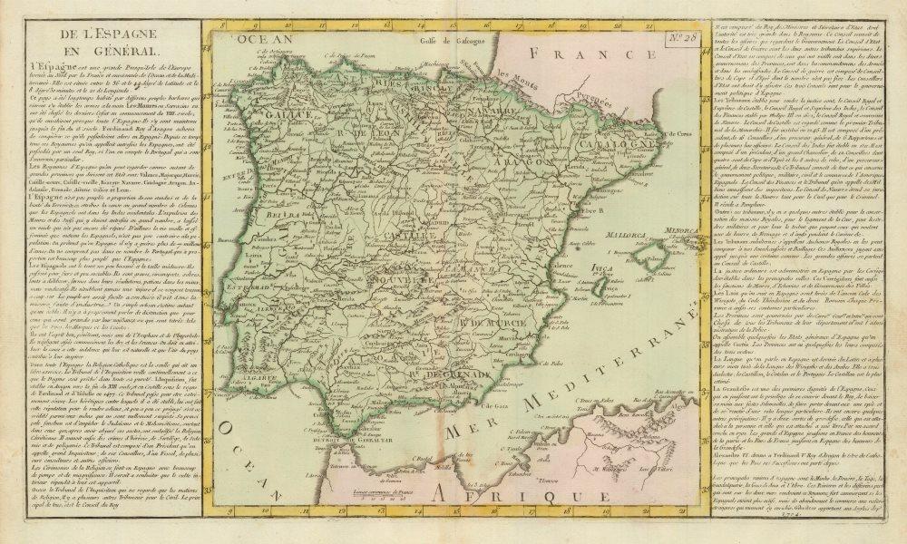 Associate Product 'De L'Espagne en General' by J-B.L. Clouet. Iberia Spain Portugal c1787 map