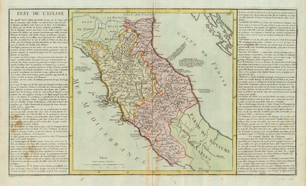 Associate Product 'Etat de L'Eglise' by J-B.L. Clouet. States of the Church. Italy c1787 old map