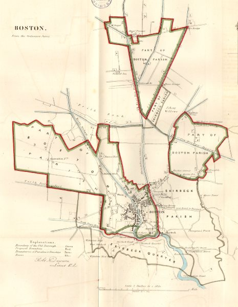 Associate Product BOSTON town/borough plan for the REFORM ACT. Lincolnshire. DAWSON 1832 old map