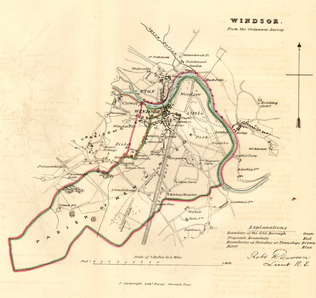 Associate Product WINDSOR borough/town plan. REFORM ACT. Eton Great Park Berks. DAWSON 1832 map