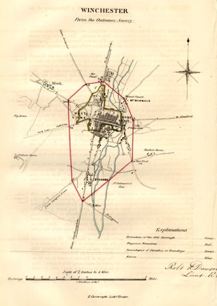 Associate Product WINCHESTER town/borough plan. REFORM ACT. Weeke. Hampshire. DAWSON 1832 map