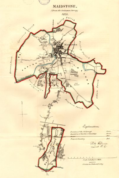 MAIDSTONE town/borough plan for the REFORM ACT. Kent. DAWSON 1832 old map