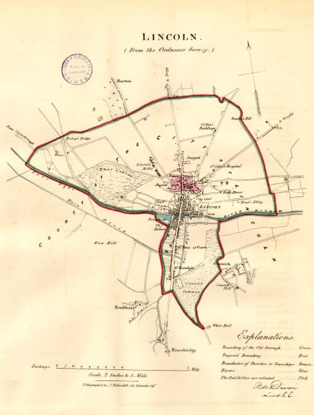 Associate Product LINCOLN borough/town/city plan. REFORM ACT. Lincolnshire. DAWSON 1832 old map