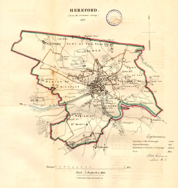 Associate Product HEREFORD borough/town/city plan. REFORM ACT. Herefordshire. DAWSON 1832 map