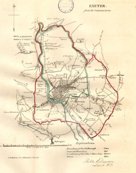 EXETER borough/town/city plan. REFORM ACT. Devon. DAWSON 1832 old antique map