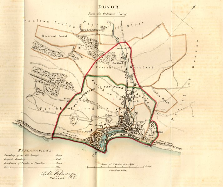 Associate Product DOVER town/borough plan for the REFORM ACT. Kent. DAWSON 1832 old antique map