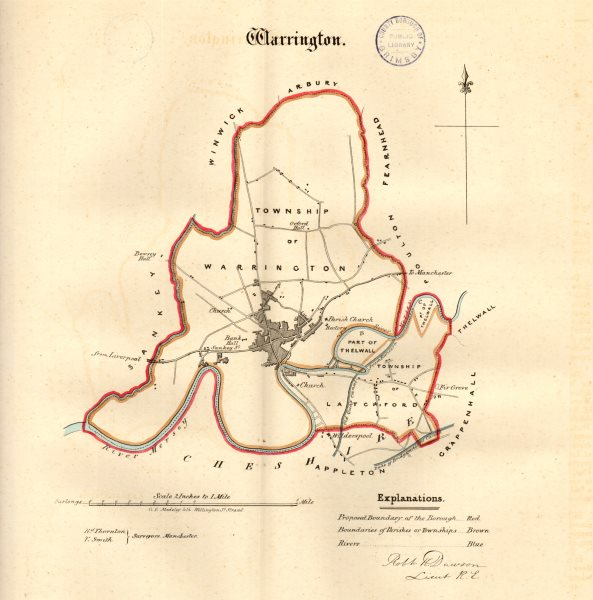 Associate Product WARRINGTON town/borough plan. REFORM ACT. Latchford. Lancashire. DAWSON 1832 map