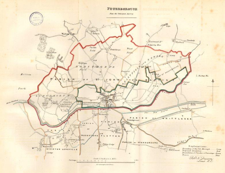 Associate Product PETERBOROUGH town/borough plan. REFORM ACT. Fletton Standground. DAWSON 1832 map