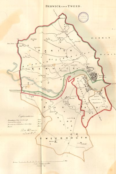 Associate Product BERWICK UPON TWEED town/borough plan BOUNDARY REVIEW. Northumbs. DAWSON 1832 map