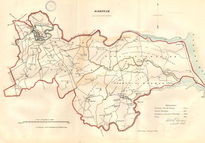 MORPETH town/borough plan. REFORM ACT. Bedlington Northumberland.DAWSON 1832 map