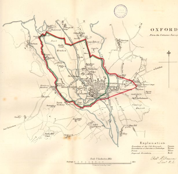 Associate Product OXFORD borough/town/city plan. REFORM ACT. Oxfordshire. DAWSON 1832 old map