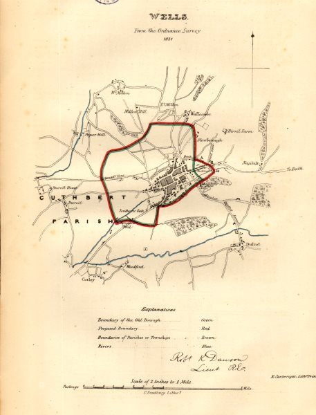 Associate Product WELLS town/borough plan for the REFORM ACT. Coxley. Somerset. DAWSON 1832 map