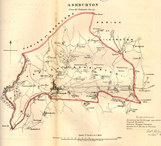 Associate Product ASHBURTON borough/town plan. REFORM ACT. Devon. DAWSON 1832 old antique map
