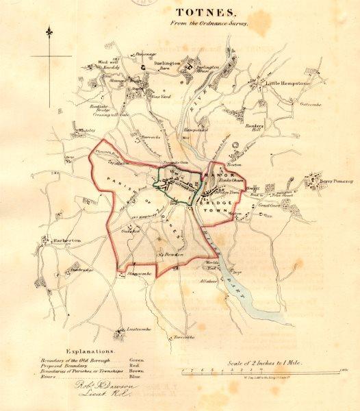 Associate Product TOTNES borough/town plan. REFORM ACT. River Dart, Devon. DAWSON 1832 old map