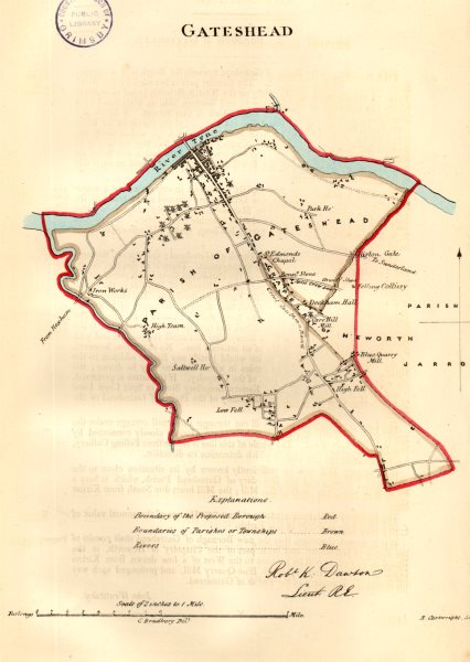 GATESHEAD town/borough plan for the REFORM ACT. County Durham. DAWSON 1832 map