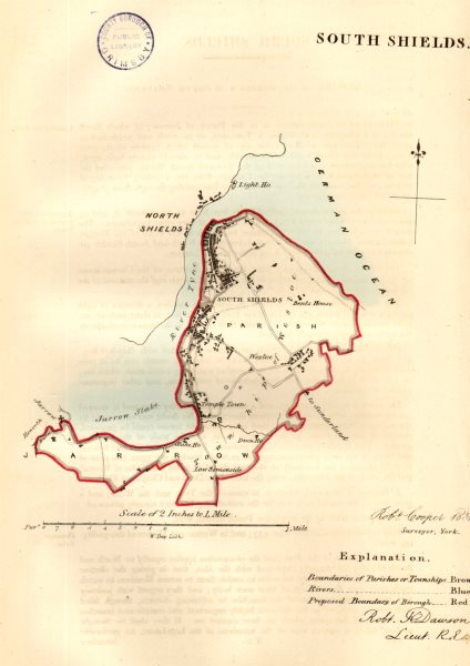 Associate Product SOUTH SHIELDS town/borough plan for the REFORM ACT. Durham. DAWSON 1832 map