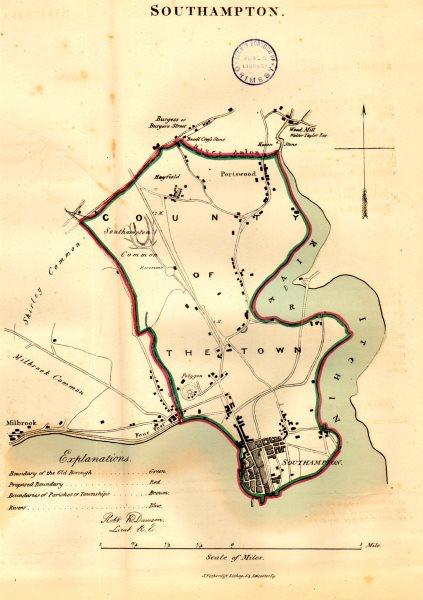 Associate Product SOUTHAMPTON town/borough/city plan. REFORM ACT. Portswood. DAWSON 1832 old map