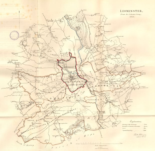 Associate Product LEOMINSTER town/borough plan. REFORM ACT. Herefordshire. DAWSON 1832 old map