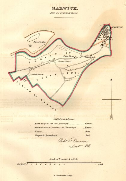 Associate Product HARWICH town/borough plan for the REFORM ACT. Essex. DAWSON 1832 old map