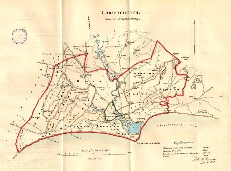 Associate Product CHRISTCHURCH town/borough plan. REFORM ACT. Mudeford. Dorset. DAWSON 1832 map