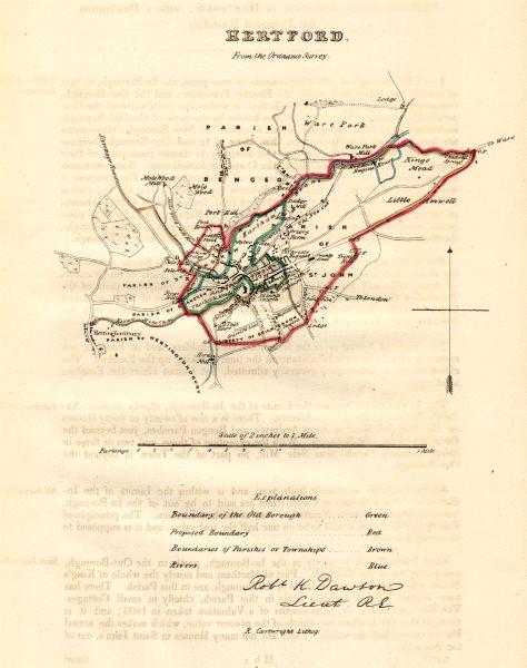 Associate Product HERTFORD borough/town plan. REFORM ACT. Hertfordshire. DAWSON 1832 old map