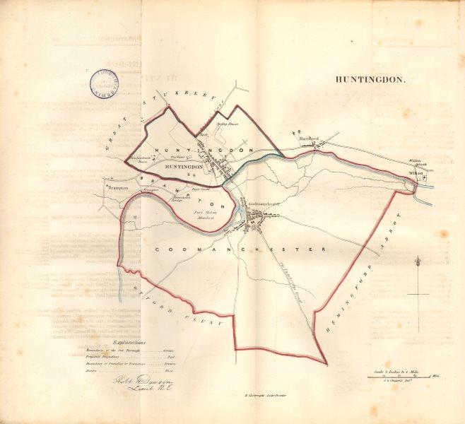 Associate Product HUNTINGDON borough/town plan. REFORM ACT. Huntingdonshire. DAWSON 1832 old map
