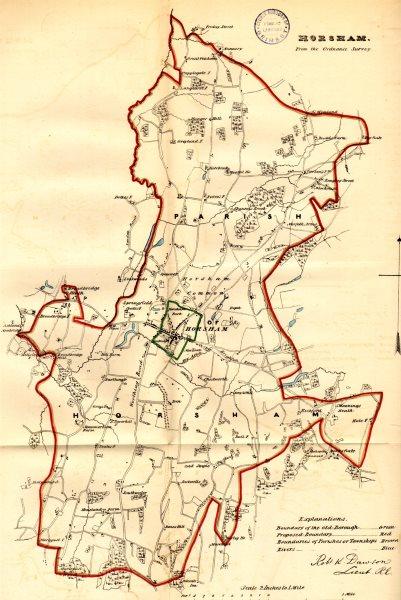 Associate Product HORSHAM borough/town plan. REFORM ACT. Sussex. DAWSON 1832 old antique map