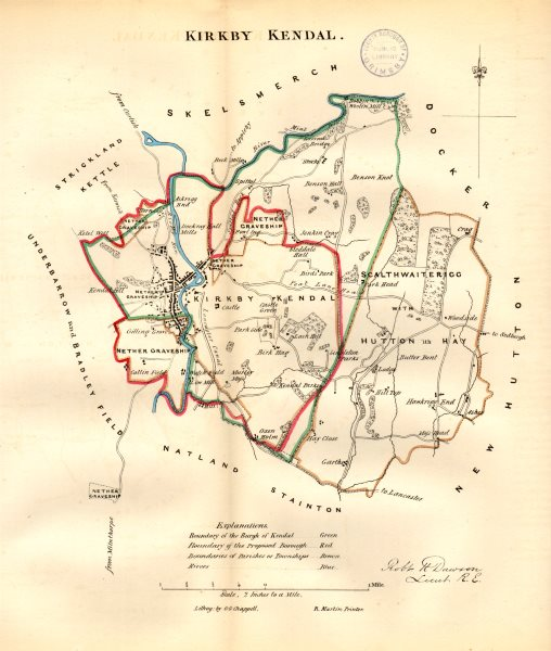 Associate Product KIRKBY KENDAL town/borough/wards plan. BOUNDARY REVIEW. Cumbria. DAWSON 1832 map