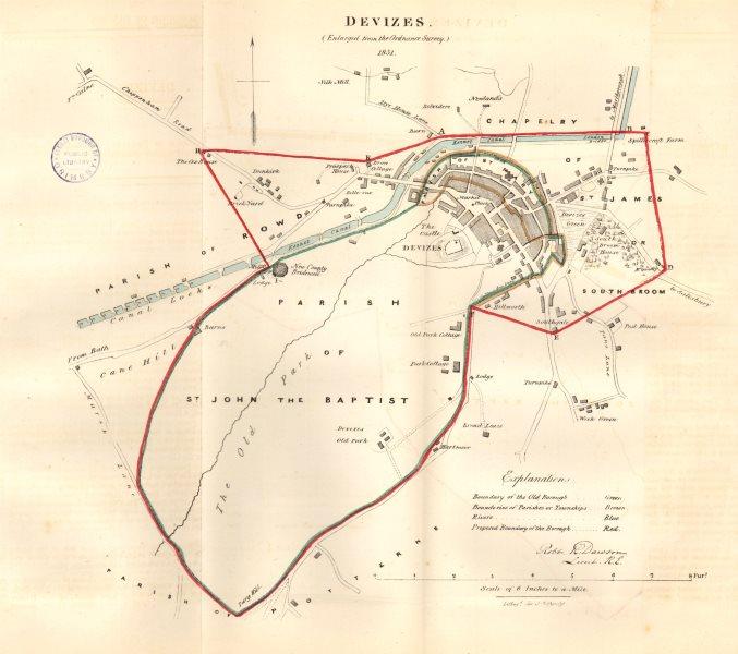 Associate Product DEVIZES town/borough plan REFORM ACT. Caen Hill Locks Wiltshire. DAWSON 1832 map