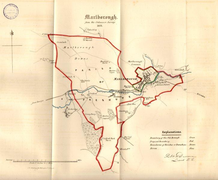 Associate Product MARLBOROUGH town/borough plan. REFORM ACT. Lockeridge Wiltshire. DAWSON 1832 map