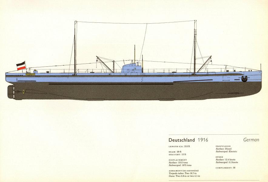 Deutschland (1916). German submarine. U-boat. U-Boot. Hugh Evelyn 1970 print