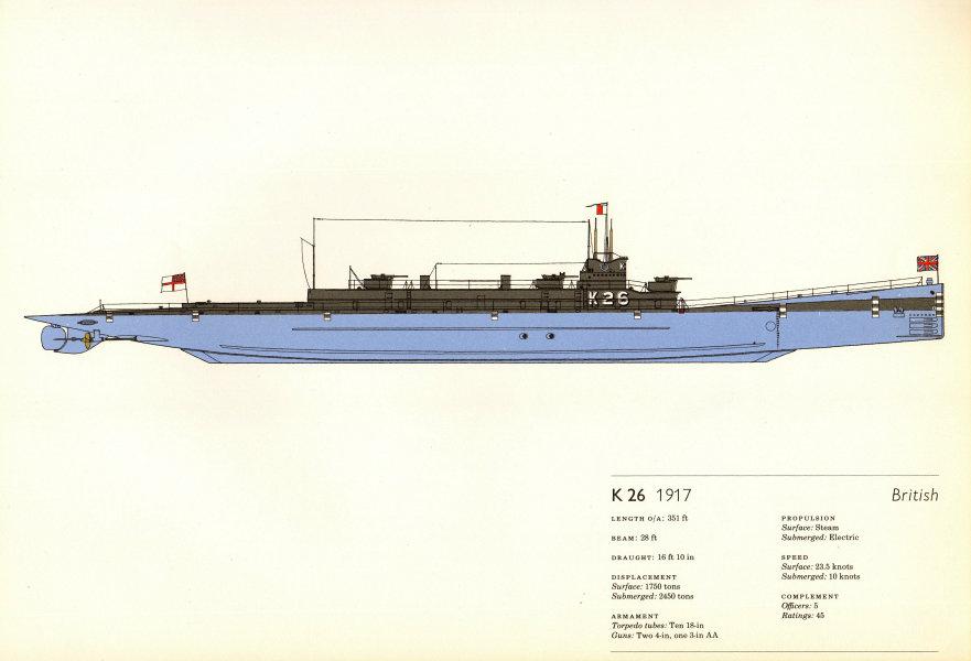 Associate Product K-26 (1917). British submarine. Hugh Evelyn 1970 old vintage print picture