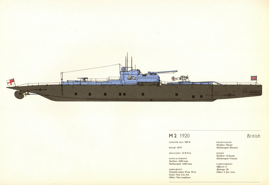 Associate Product M2 (1920). British submarine. Hugh Evelyn 1970 old vintage print picture