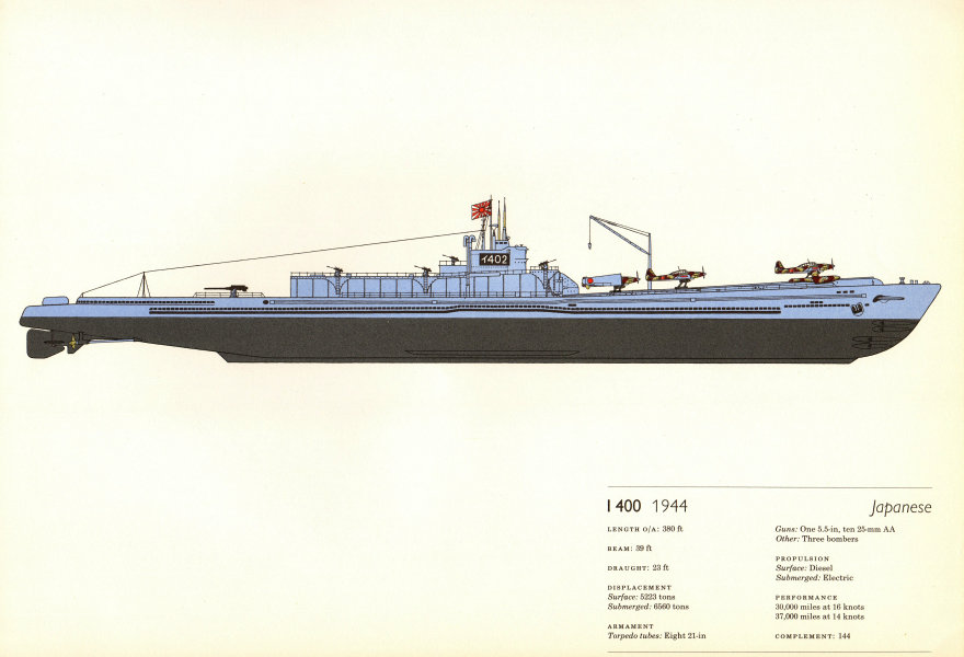 Associate Product I-400 (1944). Japanese submarine. Hugh Evelyn 1970 old vintage print picture