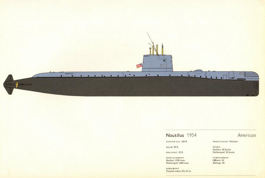 Associate Product Nautilus (1954). American nuclear submarine. Hugh Evelyn 1970 old print
