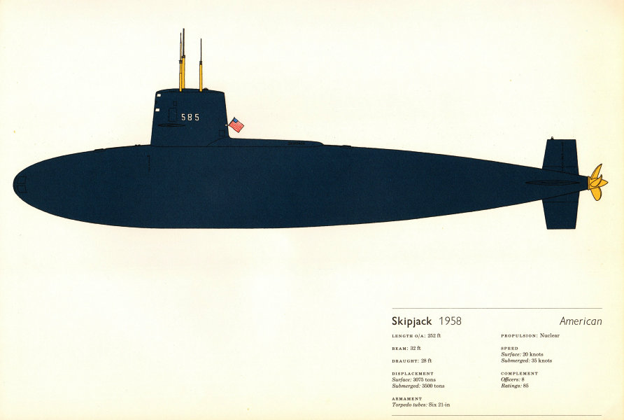 Skipjack (1958). American nuclear submarine. Hugh Evelyn 1970 old print