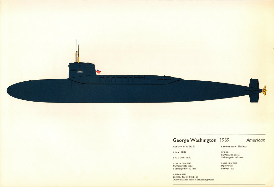 Associate Product George Washington (1959). American nuclear submarine. Hugh Evelyn 1970 print