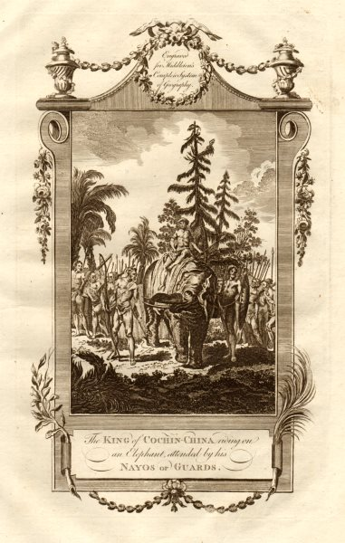"""Associate Product """"The king of Cochin-China riding on an elephant"""". Vietnam. MIDDLETON 1779"""