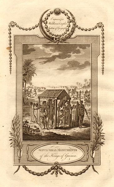 """Associate Product """"Sepulchral Monuments of the Kings of Guinea"""". MIDDLETON 1779 old print"""