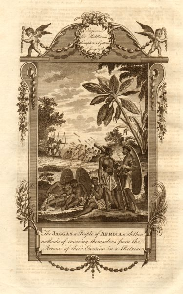 Associate Product The Jaggas a people of Africa defending themselves. Jaga. Congo. MIDDLETON 1779