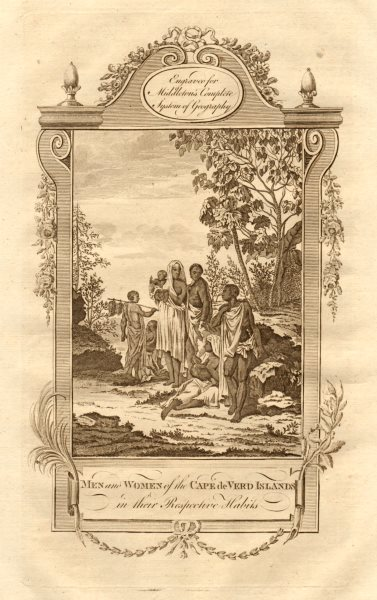 """Men and women of the Cape de Verd Islands"". Cape Verde. MIDDLETON 1779 print"