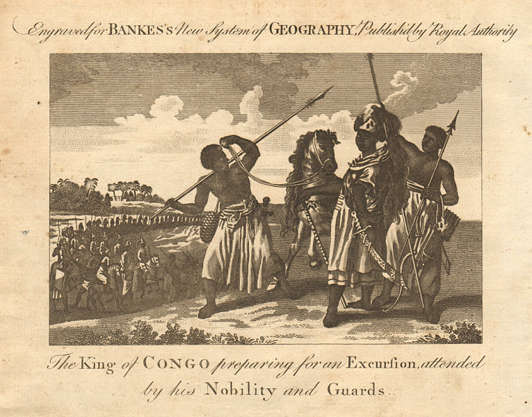 The King of Congo preparing for an excursion. BANKES 1789 old antique print