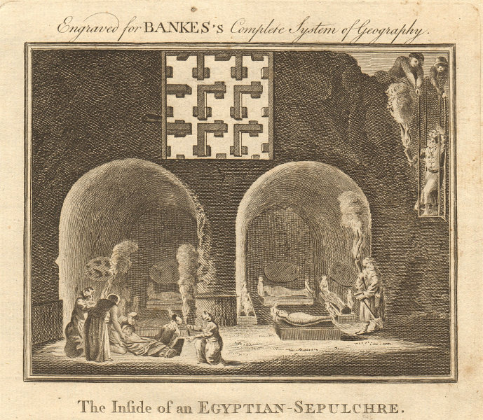 The inside of an Egyptian sepulchre. Tomb. BANKES 1789 old antique print