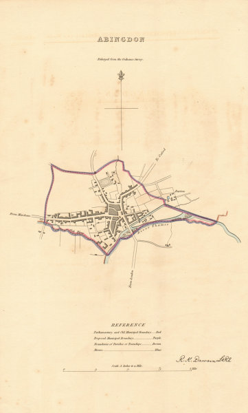 Associate Product ABINGDON borough/town plan. BOUNDARY REVIEW. Oxfordshire. DAWSON 1837 old map
