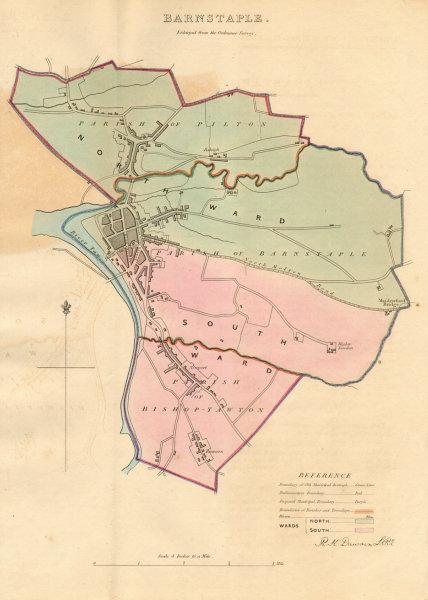 Associate Product BARNSTAPLE borough/town plan. BOUNDARY REVIEW. Devon. DAWSON 1837 old map